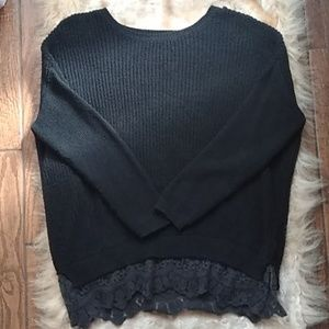 Anthropologie Pins & Needles Knit & Lace Sweater S